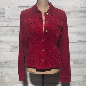 Jones NY Signature red corduroy jacket gold button